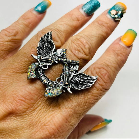 Pistol & Angel Wings Bling Stretchy Ring